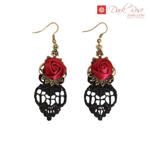 Dark Rose Lace Earrings - Dark Rose Jewellery