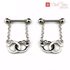 Dark Rose Hand Cuff Barbell 14G - Dark Rose Jewellery