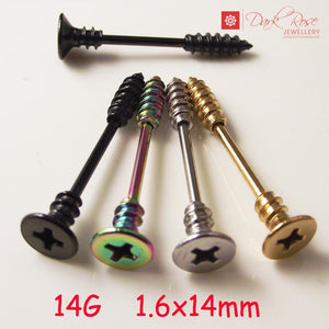 Dark Rose Screw Barbell 2pc 14G - Dark Rose Jewellery