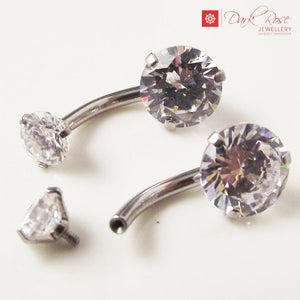 DRJ Internally Threaded Crystal Navel - Dark Rose Jewellery