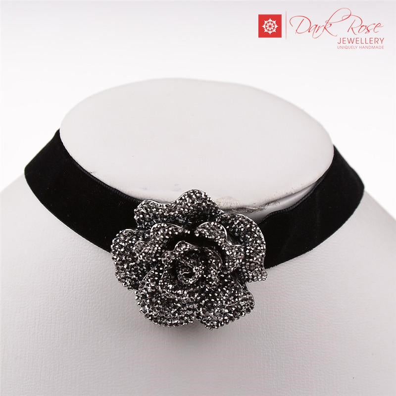 Dark Rose Flower Choker - Dark Rose Jewellery