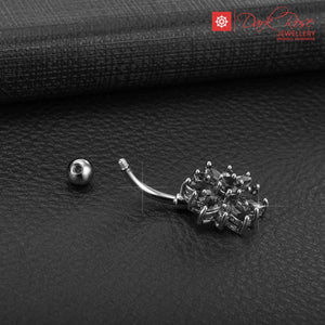 Dark Rose Curved Crystal Barbell 14G - Dark Rose Jewellery