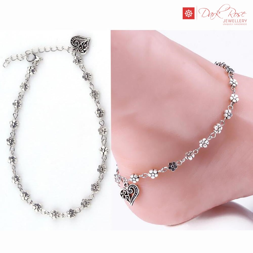 Dark Rose Flower Anklet - Dark Rose Jewellery