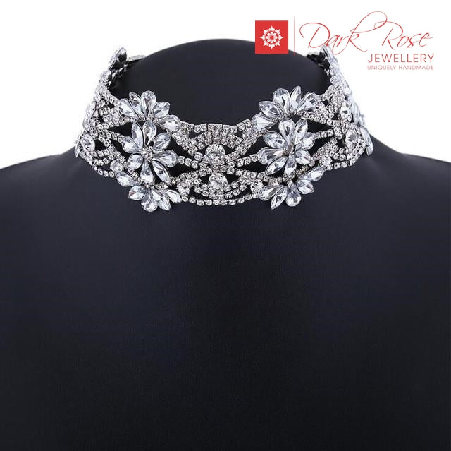 Dark Rose Crystal Flower Necklace - Dark Rose Jewellery