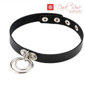 Dark Rose Leather Hoop Choker - Dark Rose Jewellery