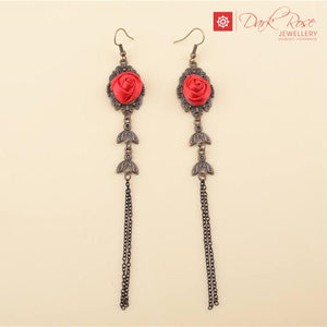 Dark Rose Drop Earrings - Dark Rose Jewellery