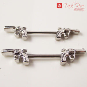 Dark Rose Pistol Barbell 14G - Dark Rose Jewellery