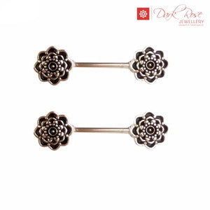 Black Rose Silver Barbell 2pc - Dark Rose Jewellery
