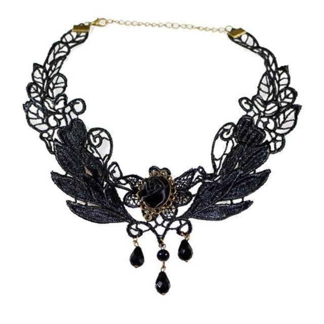 Black Rose Flower Lace Gothic Beads Pendant Choker Necklace - Dark Rose Jewellery