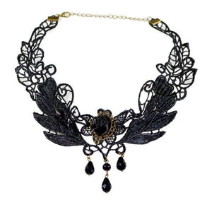 Black Rose Flower Lace Gothic Beads Pendant Choker Necklace