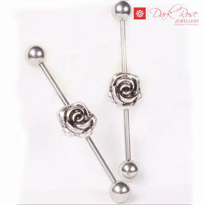 Dark Rose Flower Industrial Barbell 2pc 14G - Dark Rose Jewellery
