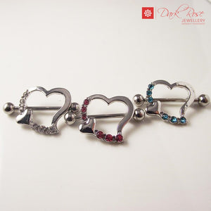 Dark Rose Cupid Heart 2 pc 14G - Dark Rose Jewellery