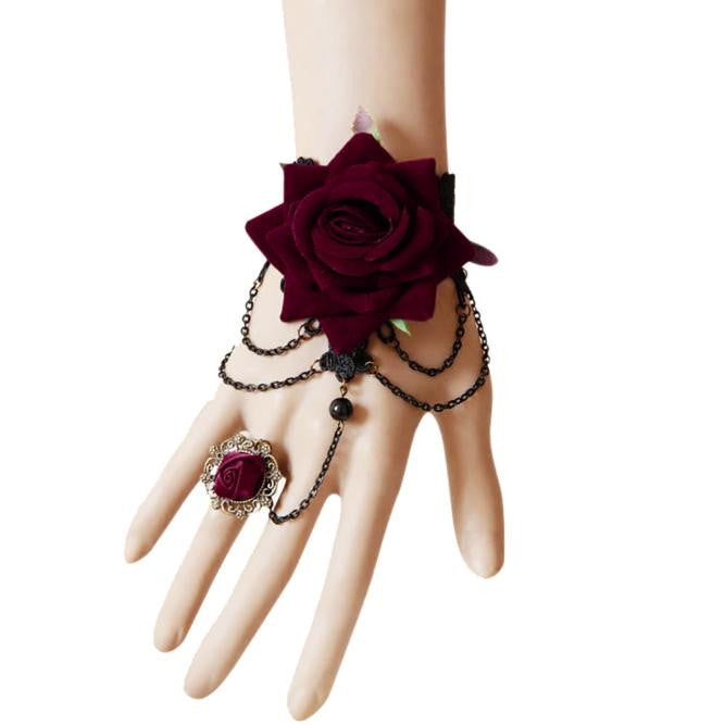 Halloween Retro Luxury Tassel Bracelet Red Roses - Dark Rose Jewellery