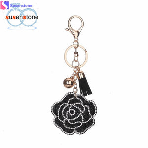 Roses Rhinestone Tassel Keychain Bag Handbag Key Ring Car Key Pendant - Dark Rose Jewellery