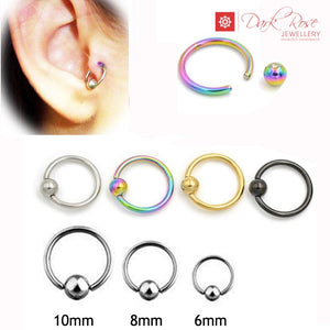 Dark Rose Titanium Hoop 2pc - Dark Rose Jewellery