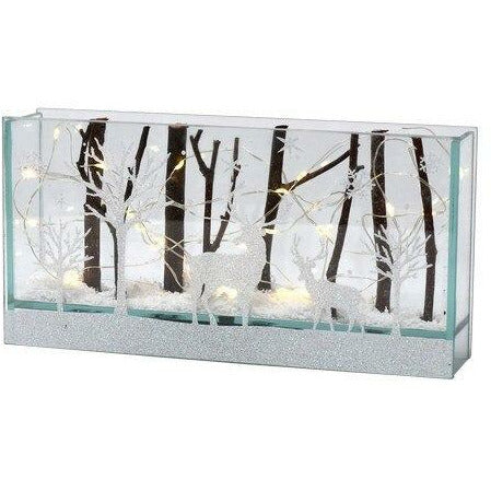 Deer in Winter Woods - LED Illuminated Holiday Glass Lightbox - Howell's Mercantile