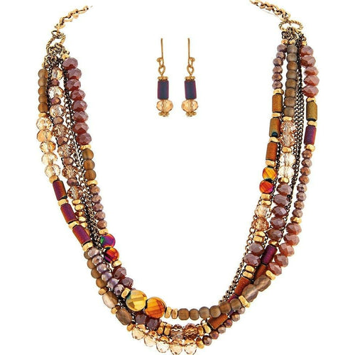 GOLD PINK RED MIX BEAD NECKLACE SET - Howell's Mercantile