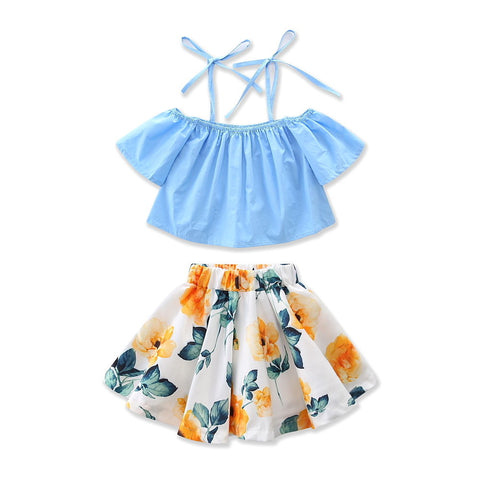 2 PCS- Baby Girls Floral Denim Set