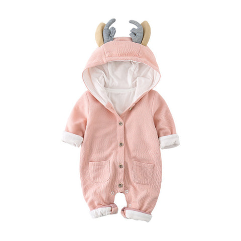 Reindeer Ears Cold Weather Romper - Todlrboutik