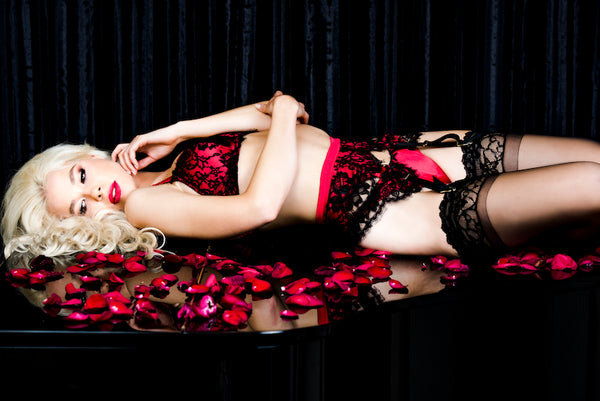 Appassionata Red Silk and French Black Lace Suspender (Heritage Collection), Suspenders - Miss Photogenic