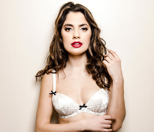 Miss Photogenic Parisian Rendevous Ivory Silk and Black Lace Plunge Bra