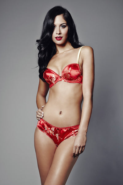 Rubies of the Orient Plunge Bra (GOLD Collection), Bras - Miss Photogenic