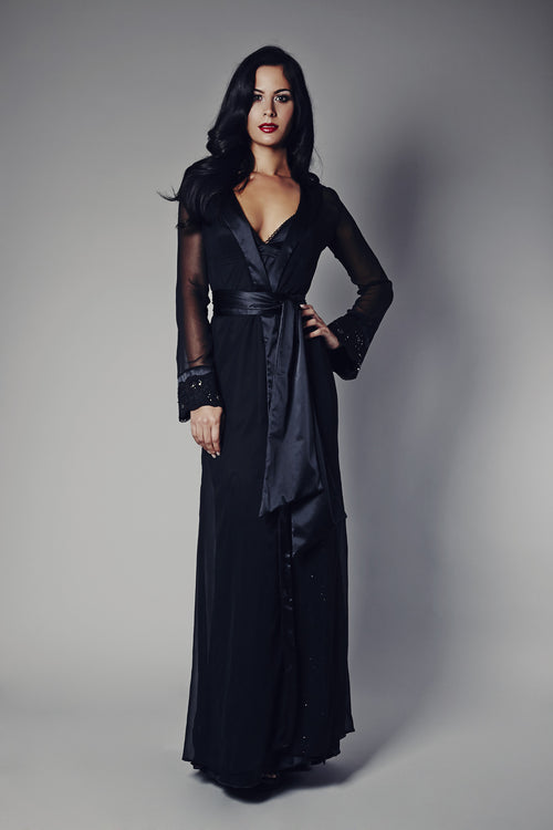 Midnight Breeze Black Embellished Robe (GOLD Collection), Robes - Miss Photogenic