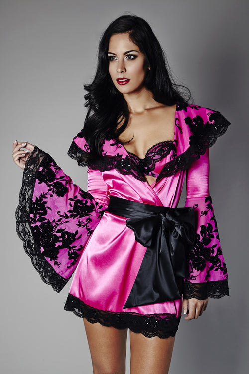 Lace That Enveloped A Rose Kimono Robe, Kimonos - Miss Photogenic