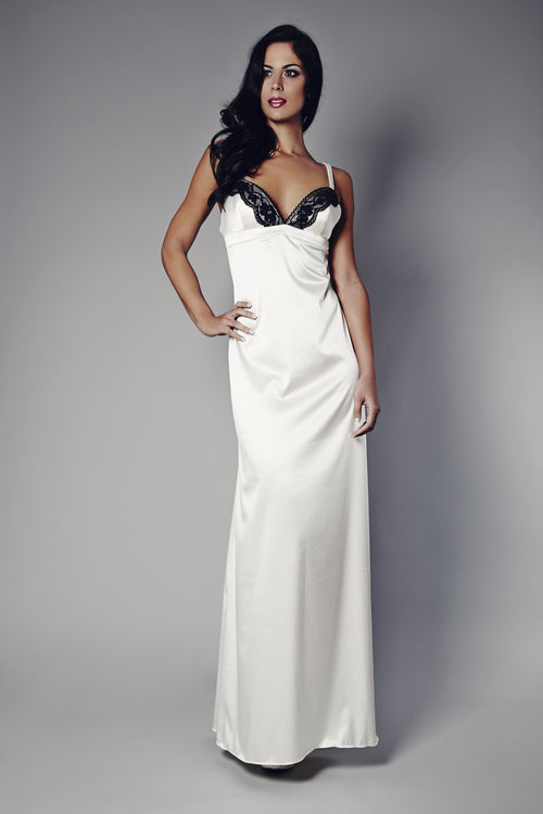 Ivory Whispers, Ebony Secrets Ivory and Black Nightgown, Nightgowns - Miss Photogenic