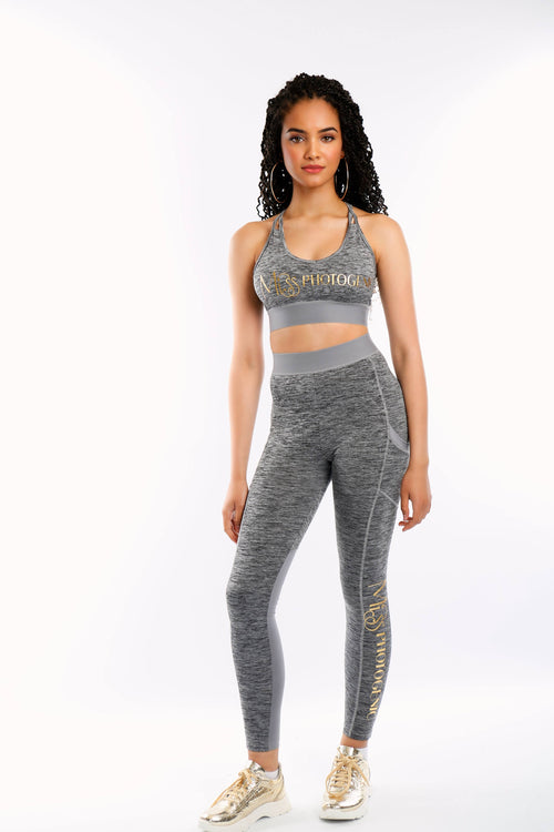 Grey Miss Photogenic® Gold Foil Logo Crop Top