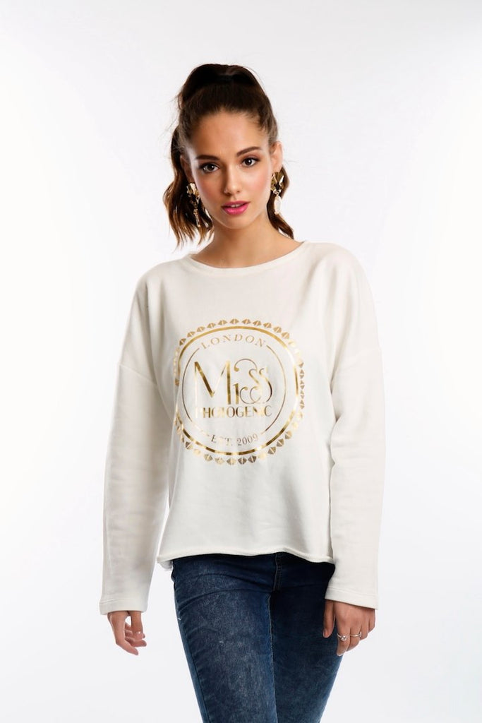 Ivory Miss Photogenic® Oversized Sweatshirt With Gold Foil Logo