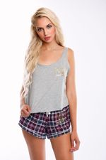 Miss Photogenic® Red Tartan Shorts & Oversized Logo Sleep Set
