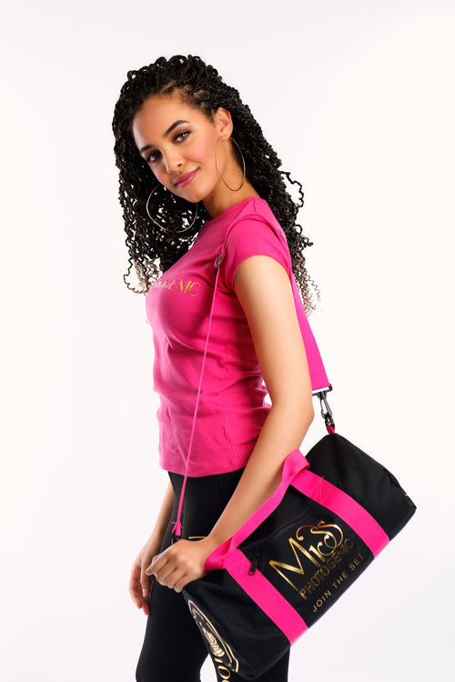 London Crown Gym Studio Bag in Black & Fuchsia