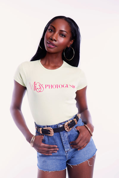 Lime Ribbed Short Sleeve Miss Photogenic® Pink Logo T Shirt