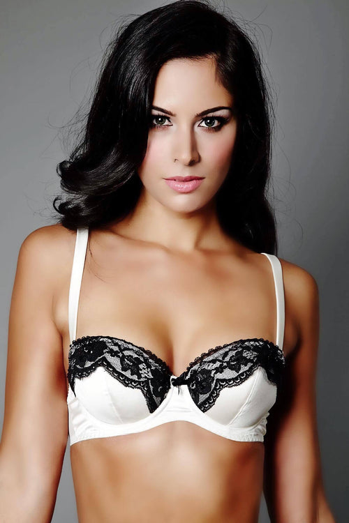 Ivory Whispers, Ebony Secrets Ivory and Black Balcony Bra (GOLD Collection), Bras - Miss Photogenic