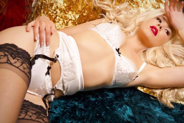 Parisian Rendevous Ivory Silk and Black Lace Suspender (GOLD Collection), Suspenders - Miss Photogenic