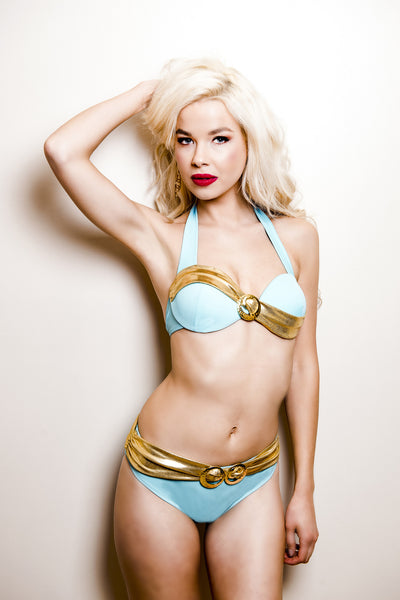 Glittering Waves Of Sunrise Bikini Top (Aqua) (Heritage Collection), Bikini - Miss Photogenic