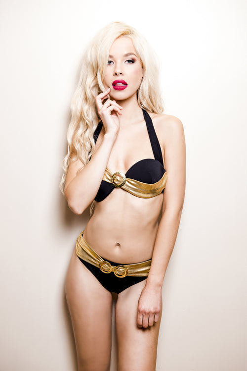 Glittering Waves of Sunrise - Bikini Top (Black) (GOLD Collection), Bikini - Miss Photogenic