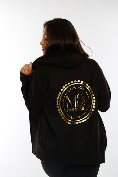 Black Miss Photogenic® Round Logo Zip fronted Hoodie