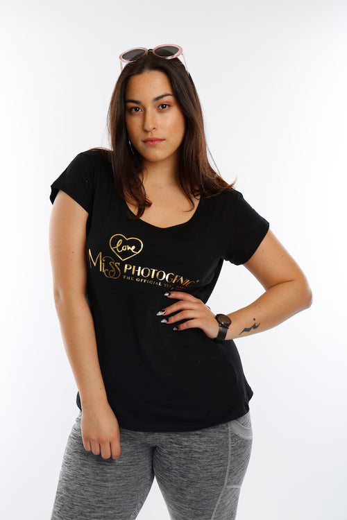 Black Cut Out LOVE Miss Photogenic® Gold Foil Logo T Shirt