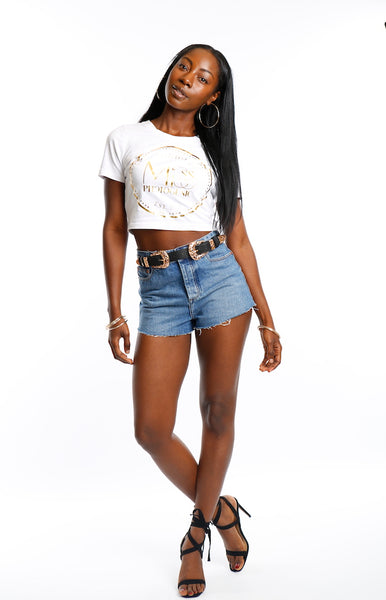 White Miss Photogenic® Crop Logo T Shirt