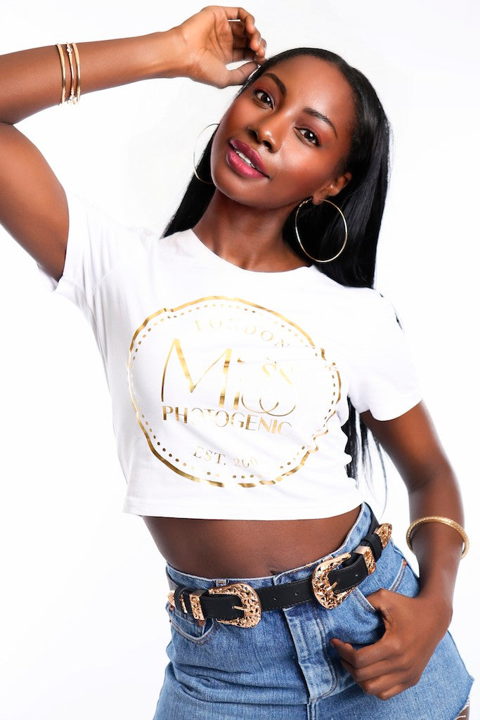 White Miss Photogenic® Crop Logo T Shirt, cropped t shirt - Miss Photogenic