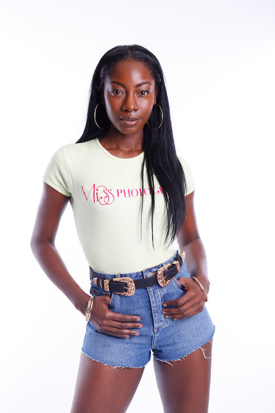 Lime Ribbed Short Sleeve Miss Photogenic® Pink Logo T Shirt, t shirt - Miss Photogenic
