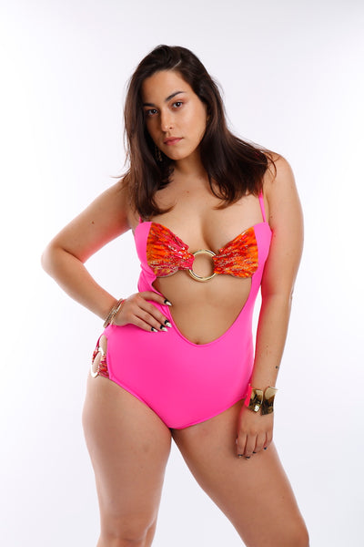 Sizzling Seeker Of Style One Piece Monokini (Pink/Orange) (GOLD Collection)