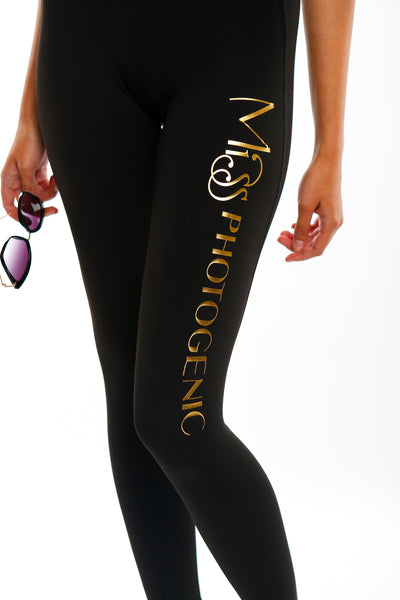 Black Miss Photogenic® Gold Foil Logo Leggings