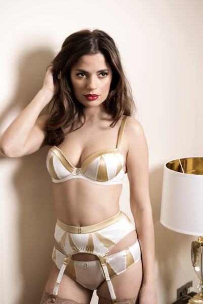 Truly Miss Photogenic Suspender in Ivory Silk (Heritage Collection), Suspenders - Miss Photogenic