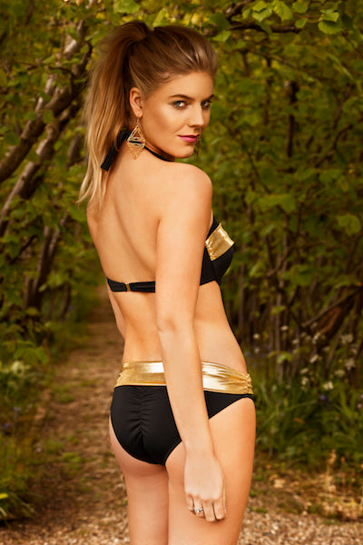 Glittering Waves Of Sunrise Bikini Bottom (Black) (Gold Collection), Bikini - Miss Photogenic