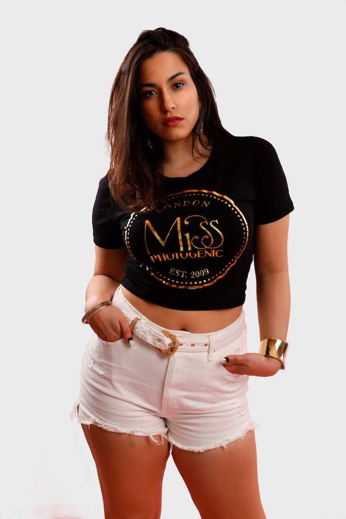 Black Miss Photogenic® Logo Crop T Shirt, cropped t shirt - Miss Photogenic