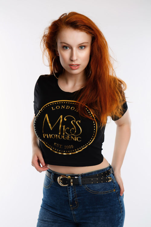 Black Miss Photogenic® Logo Crop T Shirt