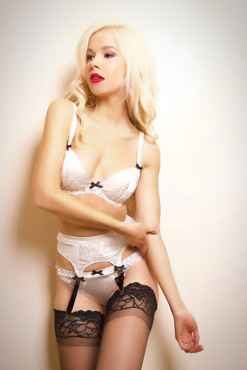 Miss Photogenic Parisian Rendevous Ivory Silk and Black Lace Suspender,